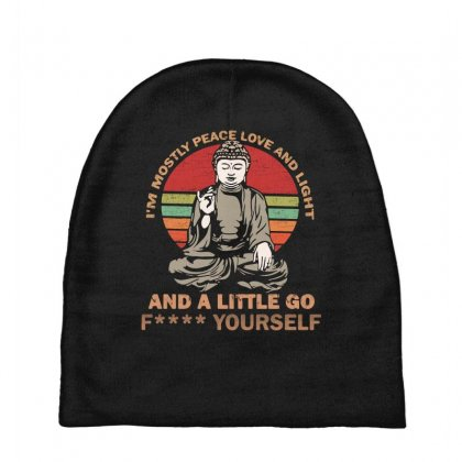 I'm Mostly Peace Love And Light And A Little Yoga Baby Beanies Designed By