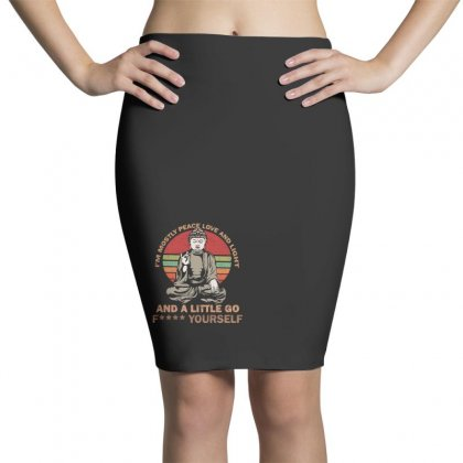 I'm Mostly Peace Love And Light And A Little Yoga Pencil Skirts Designed By