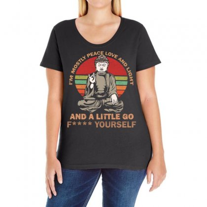I'm Mostly Peace Love And Light And A Little Yoga Ladies Curvy T-shirt Designed By