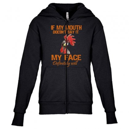 My Mouth My Face Youth Zipper Hoodie Designed By
