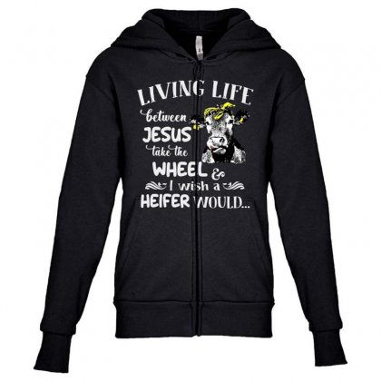 Living Life Youth Zipper Hoodie Designed By