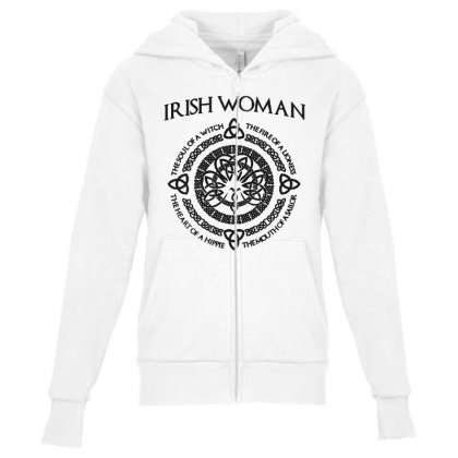 Irish Woman Youth Zipper Hoodie Designed By