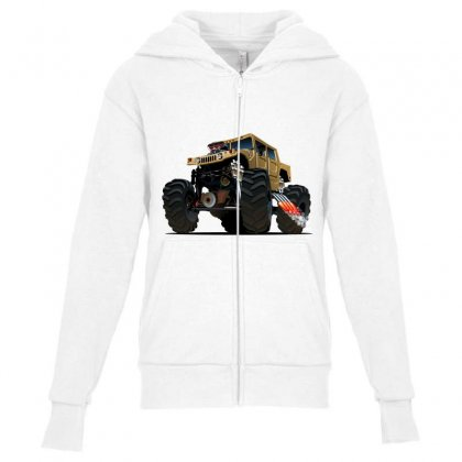 Hummer Monster Truck Youth Zipper Hoodie Designed By