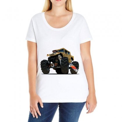 Hummer Monster Truck Ladies Curvy T-shirt Designed By