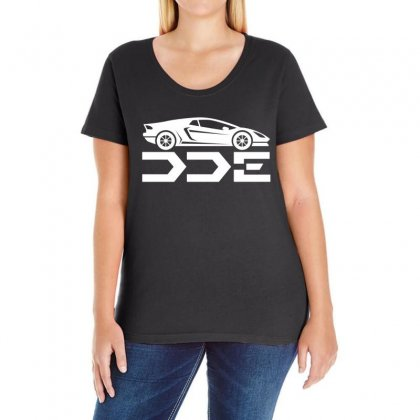 Daily Driven Exotics License Plate Ladies Curvy T-shirt Designed By