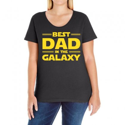 Best Dad In The Galaxy Ladies Curvy T-shirt Designed By Omer Acar