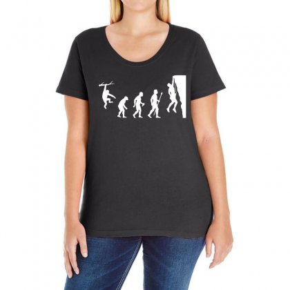 Funny Rock Climbing Evolution Ladies Curvy T-shirt Designed By Omer Acar