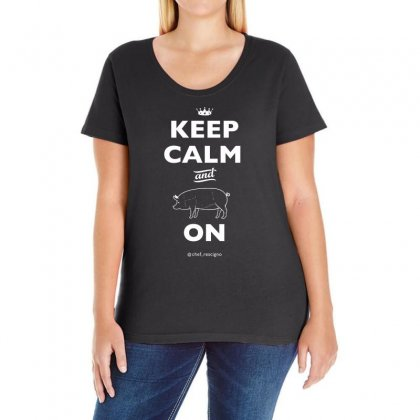 Keep Calm And Pork On   Chef Britt Rescigno Ladies Curvy T-shirt Designed By Omer Acar