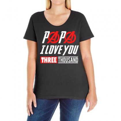 Papa I Love You 3000 Ladies Curvy T-shirt Designed By Omer Acar