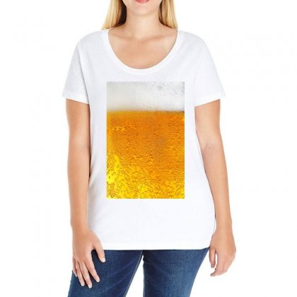 Beer Bubbles Pattern Ladies Curvy T-shirt Designed By Salmanaz