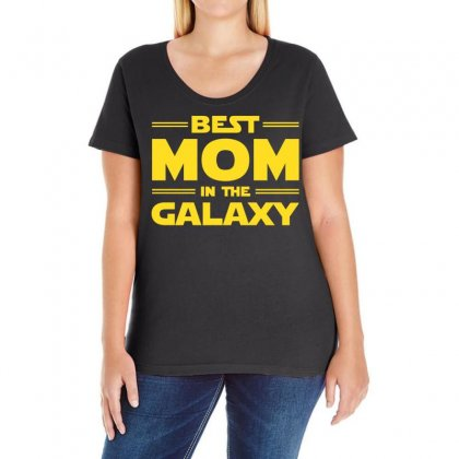 Best Mom In The Galaxy Relaxed Ladies Curvy T-shirt Designed By Omer Acar