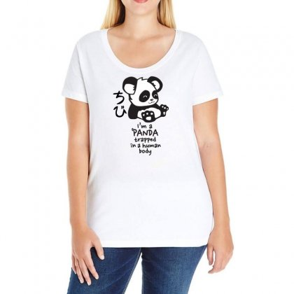 Panda Ladies Curvy T-shirt Designed By Omer Acar