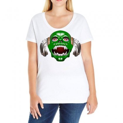Monster Mask Alien Horror Devil Ladies Curvy T-shirt Designed By Salmanaz
