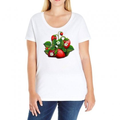 Strawberries Fruits Fruit Red Ladies Curvy T-shirt Designed By Salmanaz