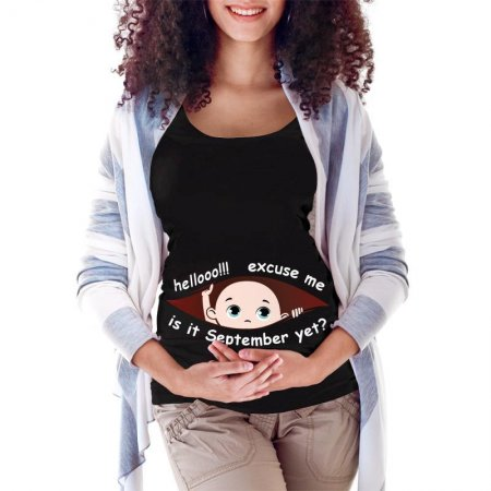 September Peeking Out Baby 2 Maternity Scoop Neck T-shirt Limited Edition