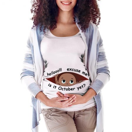 October Peeking Out Baby Girl Maternity Scoop Neck T-shirt Limited Edition