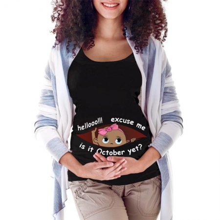 October Peeking Out Baby Girl 2 Maternity Scoop Neck T-shirt Limited Edition