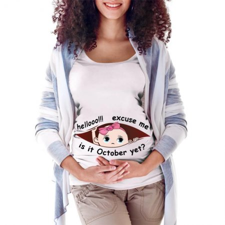 October Peeking Out Baby Maternity Scoop Neck T-shirt Limited Edition