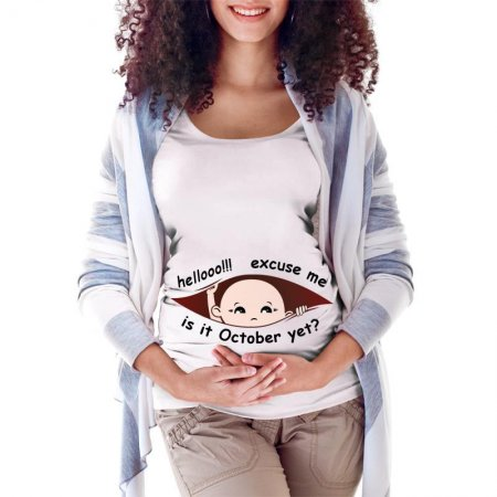 October Peeking Out Baby 2 Maternity Scoop Neck T-shirt Limited Edition