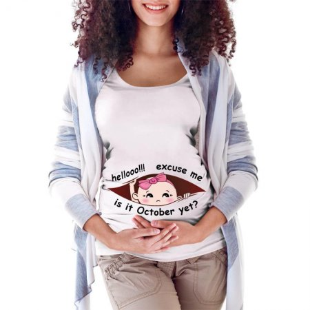 October Peeking Out Baby Girl 3 Maternity Scoop Neck T-shirt Limited Edition