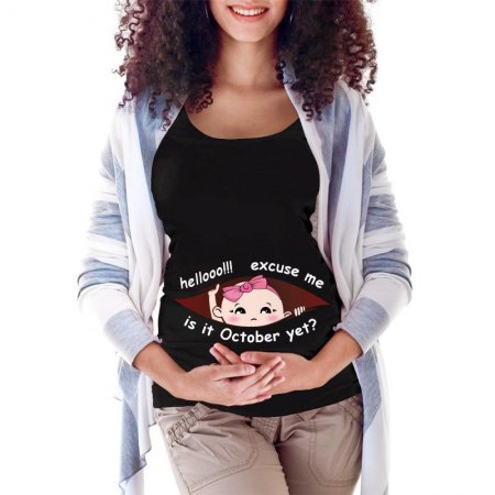 October Peeking Out Baby Girl 4 Maternity Scoop Neck T-shirt Limited Edition