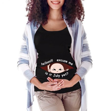 July Peeking Out Asian Baby Boy Maternity Scoop Neck T-shirt Limited Edition