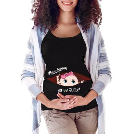 July Peeking Out Baby Girl Maternity Scoop Neck T-shirt Limited Edition