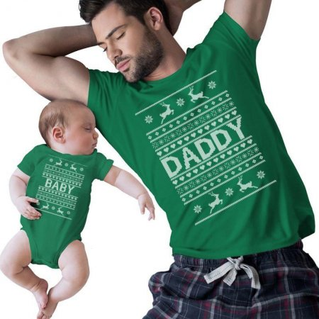 baby and daddy Christmas Matching Shirts