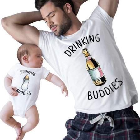 Drinking Buddies Milk And Beer Family Matching Shirts