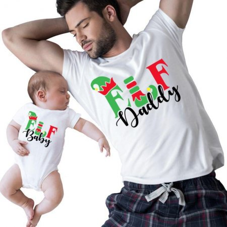 Elf Baby and Elf Daddy Christmas Family Matching Shirts