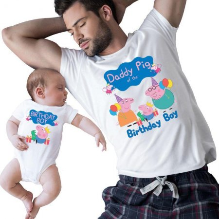 Peppa Pig Daddy Of The Birthday Boy family Matching Shirts