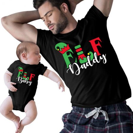 Elf daddy and Baby Christmas Family Matching Shirts