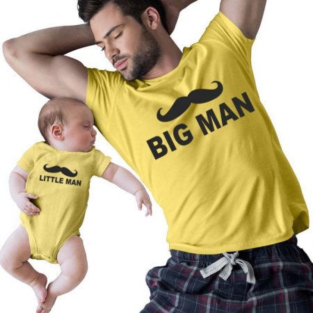 Little Man big man Mustache  Dad And Kiddo Matching Shirts