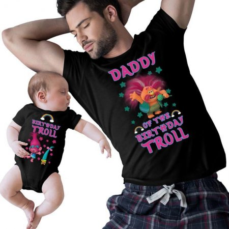 Birthday Troll and daddy Matching Shirts
