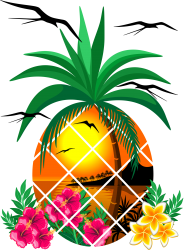 Pineapple Tropical Sunset, Palm Tree And Flowers T-shirt