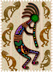 Kokopelli Rainbow Colors On Tribal Pattern T-shirt
