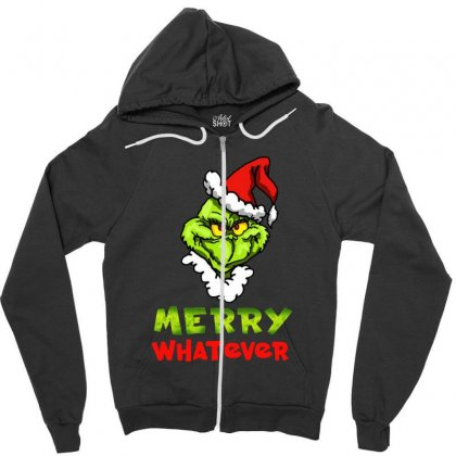 Funny Christmas Grinchy Zipper Hoodie Designed By Meganphoebe