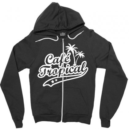 Cafe Tropical In White Zipper Hoodie Designed By Meganphoebe