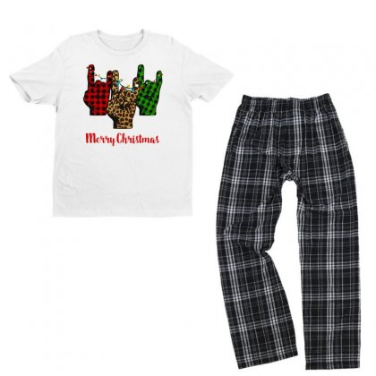 Merry Christmas Rock Hand Youth T-shirt Pajama Set Designed By Hasret