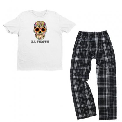 Feast Carnival Skull Youth T-shirt Pajama Set Designed By Joesvalentine
