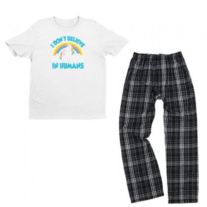 I Don't Believe In Humans Funny Youth T-shirt Pajama Set Designed By Erryshop