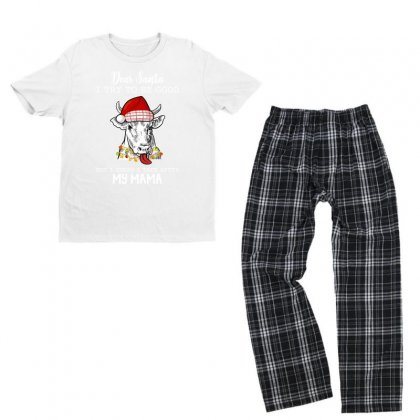 Dear Santa I Try To Be Good But I Guess I Take After Mama For Dark Youth T-shirt Pajama Set Designed By Hasret