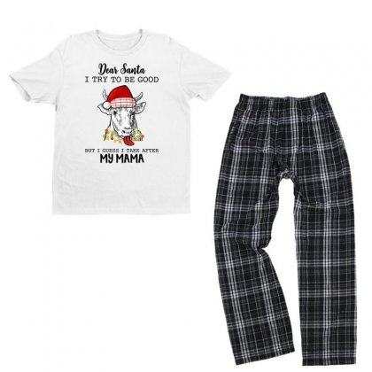 Dear Santa I Try To Be Good But I Guess I Take After Mama For Light Youth T-shirt Pajama Set Designed By Hasret