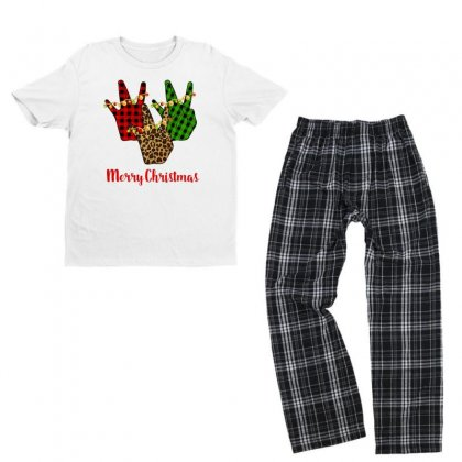 Merry Christmas Rap Hand For Light Youth T-shirt Pajama Set Designed By Hasret