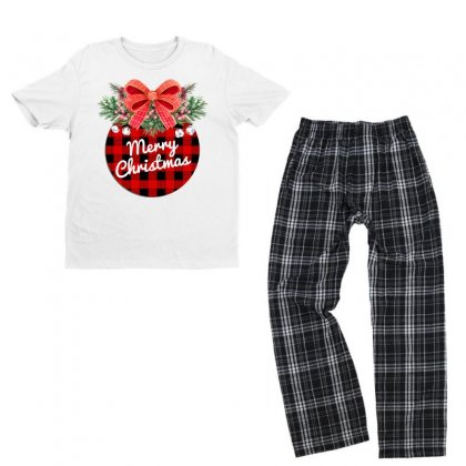 Merry Christmas Watercolor Ornament And Plaid Pattern Youth T-shirt Pajama Set Designed By Hasret