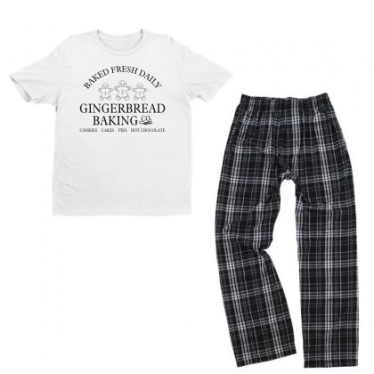 Gingerbread Backing Co Christmas For Light Youth T-shirt Pajama Set Designed By Gurkan