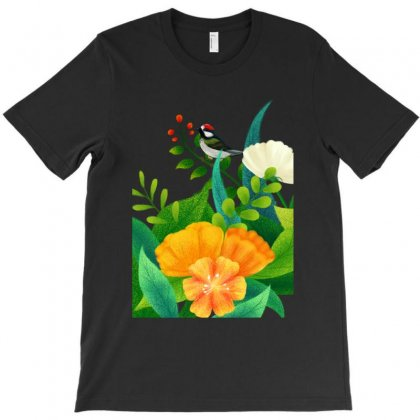 Cute Bird Plant Flowers Illustration T-shirt Designed By Tillyjemima Art