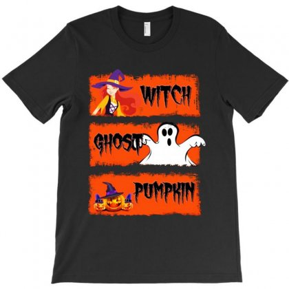 Witch Ghost Pumpkin Halloween T-shirt Designed By Tillyjemima Art