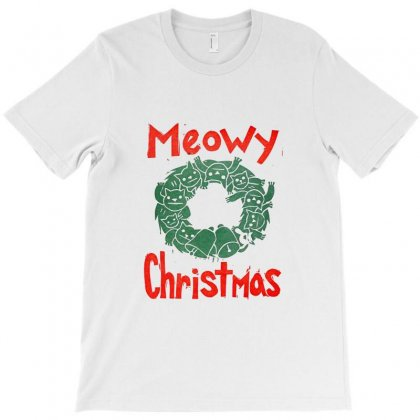 Meowy Christmas T-shirt Designed By Ratna Tier
