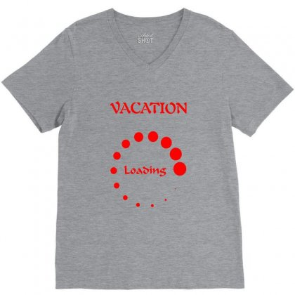 Vacation Loading Red Graphics V-neck Tee Designed By Aranim Graphics